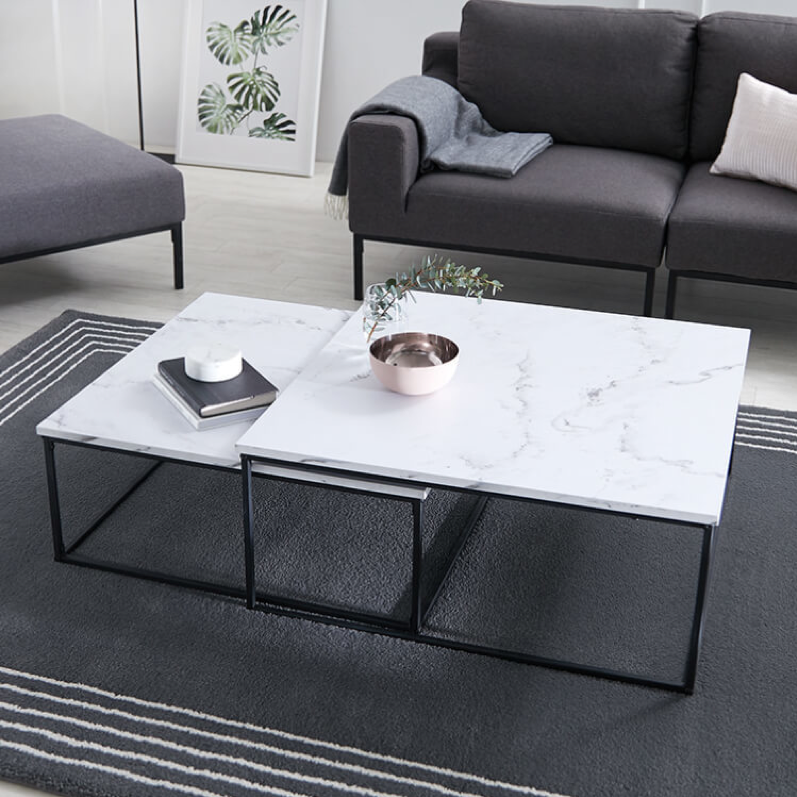 リビングテーブル ローテーブル 正方形 スチール 大理石柄
